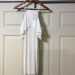 Zara White Cold Shoulder Mini Dress NWT